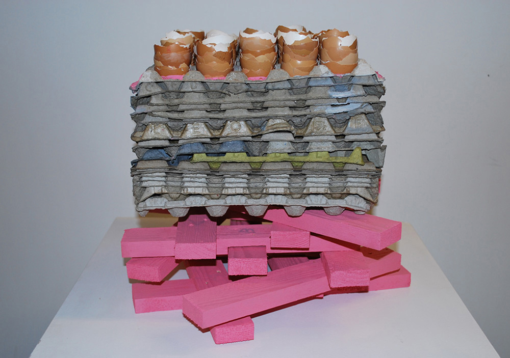 38 - Nothing (untitled) - 2009; cm 45 x 45 x 40; egg shells, egg boxes, wood, glue, acrylic